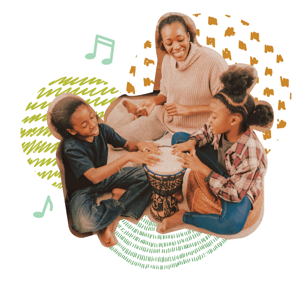 photo collage showing at-home music activities for children with speech and language delays